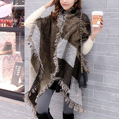 DELEY Automne Hiver Femme Ladies Echarpe Vintage Carreaux Plaid Tissu Chaud Confortable Foulards Wrap Châles Etoles Stole Scarf Marron