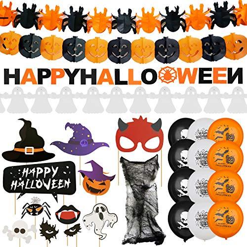 LISOPO Halloween Deko XXL Set Grusel Dekoration Set mit über 48 Teilen für Grusel Party und Garten - Girlande, Ballons, Spinnennetz mit Spinnen