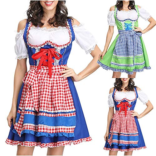 iertes Trachten Kleid Oktoberfest Cosplay Kleider Restaurant Dienstmädchen Kostüm Karneval Abendkleid Schulterfrei Trachtenkleid Baumwolle Dirndlbluse Bier Petticoat ()