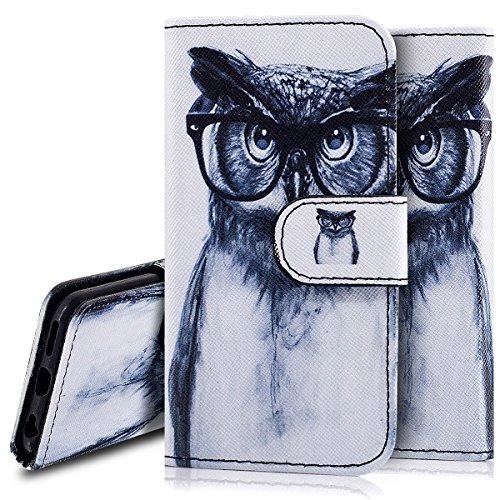 Custodia iPhone 6S 4.7 Cover iPhone 6 4.7,Ukayfe Stitching Colore Flip Case Cover per iPhone 6S 4.7,iPhone 6/6S Lussuosa Astuccio Custodia Cover [PU Leather] [Shock-Absorption] Protettiva Portafoglio  Occhiali gufo 2#