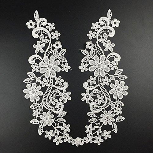 Negro Qiao Nai TM DIY Artesan/ía Bordado Flores Cord/ón Costura Falso Escote Tela Collar De Coser