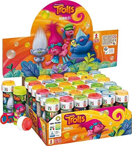 Fancy Me Boîte de 36 ou 6 Bulle Pots - Garçons Filles Bulles Pochette Surprise pour Fête Cadeaux Jeu De Jardin Idées - Les Trolls, Box of 36