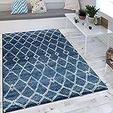 Paco Home Wohnzimmer Teppich Indigo Blau Marokkanisches Muster Modern Maritimer Stil, Grösse:160x230 cm
