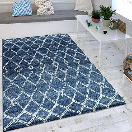 Paco Home Wohnzimmer Teppich Indigo Blau Marokkanisches Muster Modern Maritimer Stil, Grösse:80x150 cm