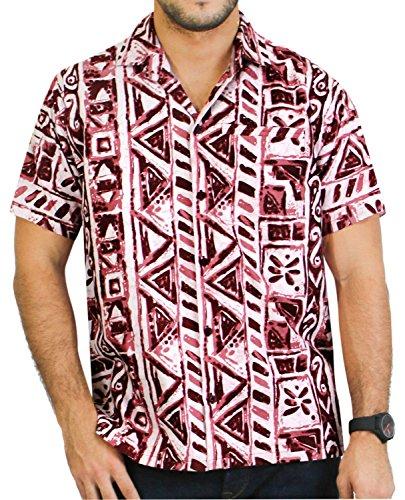 LA LEELA Shirt Camicia Hawaiana Uomo XS - 5XL Manica Corta Hawaii Tasca-Frontale Stampa Hawaiano Casuale Regular Fit RossoUT_2673 Rosso