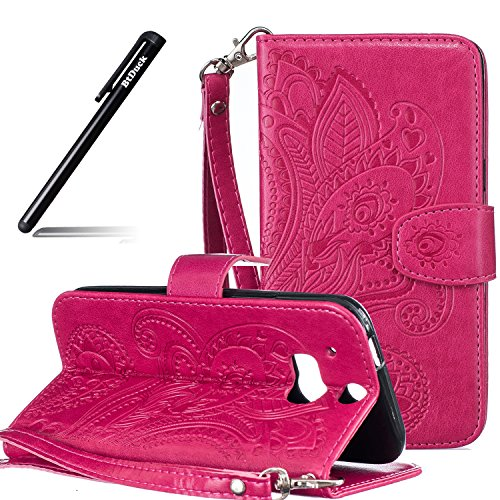 BtDuck HTC One M8 Hülle Leder, Brieftasche Flip Cover Portable Carrying Strap Embed Patterned Handytasche PU Leder Schutzhülle für HTC One M8 Tasche Handyhülle (Rote)