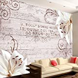 murando - Fototapete Blumen Lilien 300x210 cm - Vlies Tapete - Moderne Wanddeko - Design Tapete - Wandtapete - Wand Dekoration - Holz Blume Ornament b-A-0170-a-d