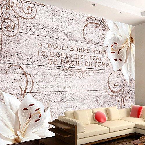 murando - Fototapete Blumen Lilien 350x256 cm - Vlies Tapete - Moderne Wanddeko - Design Tapete - Wandtapete - Wand Dekoration - Holz Blume Ornament b-A-0170-a-d