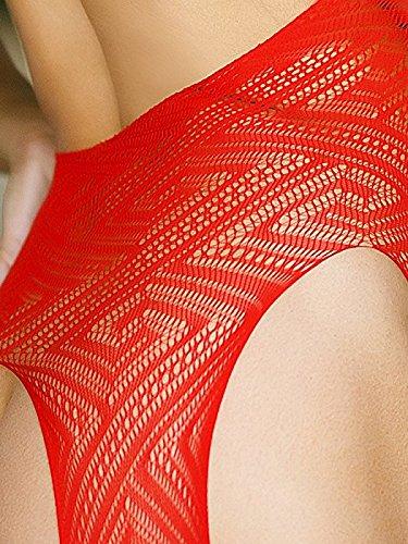 Angelic Sins, body in pizzo e rete, apertura sul davanti, ottima qualità, colore: nero, taglie: 40, 42, 44 59 RED