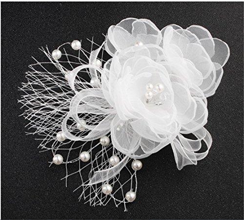 Handgefertigt Tuch Blumen Frauen Brautschmuck Strass Perle Haarkamm Clip Hochzeit Kopfbedeckung, Haar Ornament Zubehör Silber