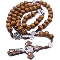 chenpaif Moda Fatto a Mano Perlina Rotonda Rosario cattolico Croce Religiosa Legno Perline Uomini Collana Fascino Regalo