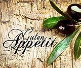 Artland Design Spritzschutz Küche I Alu Küchenrückwand Herd BxH: 60x50 cm sehr schnelle und einfache Montage Oliven vor einem Holzhintergrund - Guten Appetit