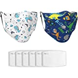 2 Pcs Kids Face Bandana Cute Pattern Reusable Kids Cloth Face Bandanas Covering with 6 Filters for Teens Boys Girls Age 7-16