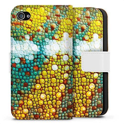 Apple iPhone X Silikon Hülle Case Schutzhülle Chamäleon Muster Chamäleonhaut Look Sideflip Tasche weiß