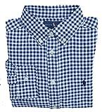 Ralph Lauren Hemd für Jungen Sport Shirt Button Down Blau Weiß Kariert Größe L (14-16 Jahre)