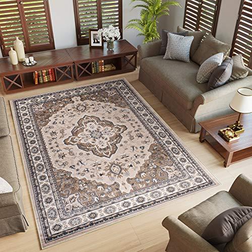 Tapiso tappeto salotto classico - colore beige chiaro disegno persiano di inspirazione orientale - morbido - facile da pulire - prezzo economico 140 x 200 cm