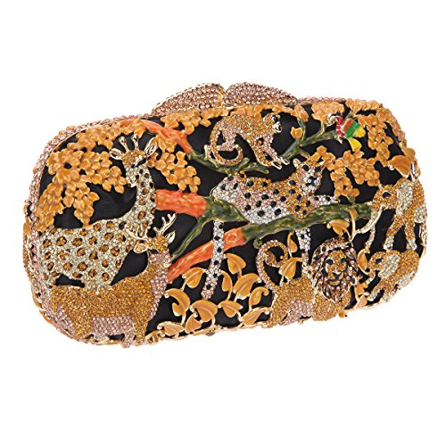 Bonjanvye Lovely and Trendy Style Forest Animal Pattern Clutch Purse Black yellow