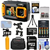 Coleman Duo 2V9WP Dual Screen Shock & Waterproof Digital Camera (Orange) + 32GB Card + Batteries & Charger + Diving LED Video Light + Buoy + Case Kit
