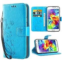 S5 Coque , Galaxy S5 Coque Rabat Portefeuille PC Cuir Anti choc avec Béquille Housse Etui pour Samsung Galaxy S5 pour Samsung Galaxy S5 / Neo Bleu