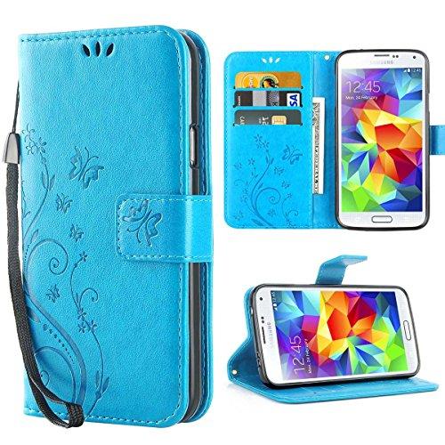 Custodia Galaxy S5, iDoer Retro Farfalla Fiore Modello Stampata Design Con Cinturino da Polso Custodia in pelle Protettiva Cuoio Portafoglio Flip Cover per Samsung Galaxy S5/NEO Blu