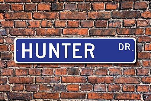 Aersing Metall Post Hunter Schild Hunter Fan Decor Kind Geschenk Enkelkind Geschenk Hunter Geburtstag Geschenk Plaque Wand Zuhause Dekoration Straßenschild