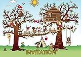 Edition Colibri Lot DE 12 Cartes d'Invitation Parc Déscalade dans Les Bois en Français pour Un Anniversaire d'Enfant ou pour Une Fête des (10980 FR)