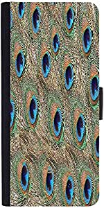 Snoogg Peacock Feathers Graphic Snap On Hard Back Leather + Pc Flip Cover Son...