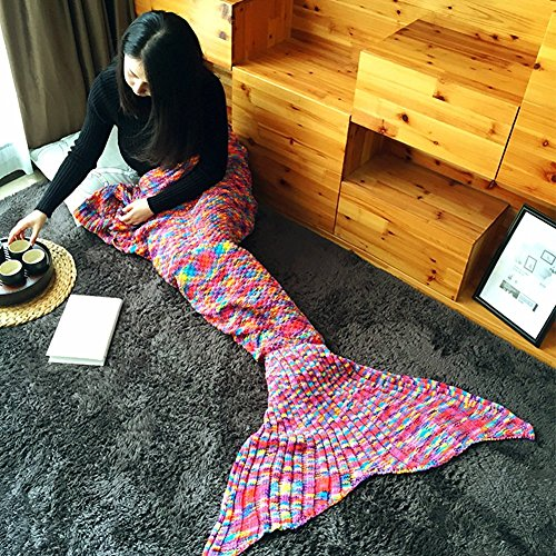 Minetom Mermaid Tail Gestrickte Meerjungfrau Endstück Decken Sofa Steppdecke Für Erwachsene Kinder Rot B 190 x 90 (Teenager Ariel Kostüm)