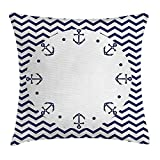 RAINNY Navy Blue Decor Throw Pillow Cushion Cover by, Marine Yacht Themed Design with Wave Like Zig Zags and Anchors Pattern, Decorative Square Accent Pillow Case, 18 X 18 Inches, White and Navy