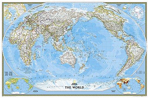 Weltkarte Classic politisch, Pazifik zentriert, großes Format, laminiert: NATIONAL GEOGRAPHIC Weltkarte (National Geographic Reference Map) -