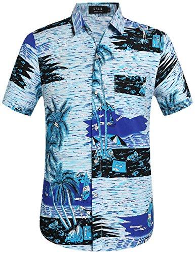 SSLR-Camisa-Hawaiana-Hombre-Manga-Corta-para-Verano-Holiday-Small-Azul
