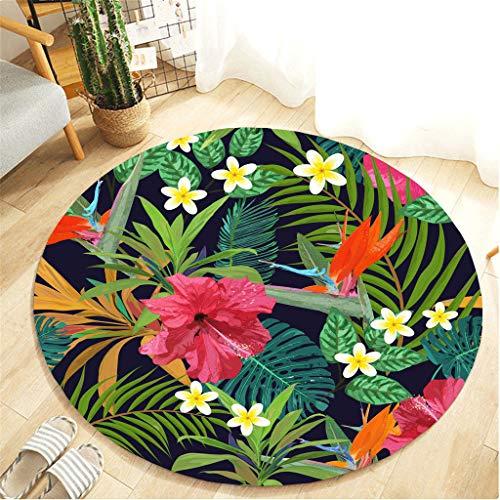 Teppiche Hochwertige komfortable Tropische pflanzenblätter Muster Carpet Rutschfeste runde Flanell Bad küche Elegante Teppichunterleger Kinderteppiche Badvorleger (Durchmesser,60cm)