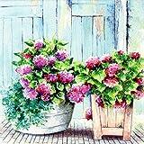 20 Servietten Cottage Hydrangea - Blumenkörbe Vintage / Blumen / Pflanzen / Garten 33x33cm