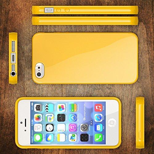 iPhone SE 5 5S Hülle Handyhülle von NICA, Ultra-Slim TPU Silikon Jelly Case, Dünnes Cover Gummi Schutzhülle Skin, Etui Handy-Tasche Backcover Bumper für Apple iPhone 5 5S SE Phone - Gelb Gelb