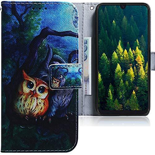 CLM-Tech Hülle kompatibel mit Samsung Galaxy A50 - Tasche aus Kunstleder - Klapphülle mit Stand & Kartenfächern, 2 Eulen Baum Nacht