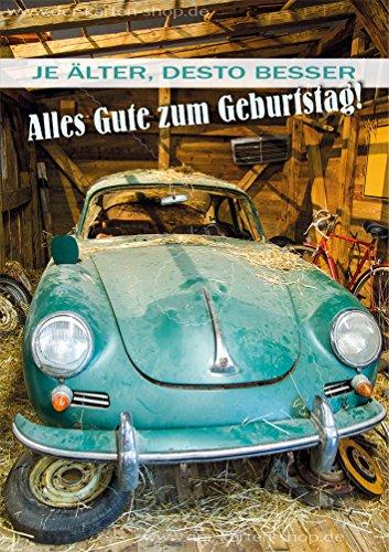 """3 Stück Doppelkarte mit Kuvert, Karte, Grußkarte, Geburtstagskarte Porsche Oldtimer """"Je älter, desto besser. Alles Gute zum Geburtstag!"""""""
