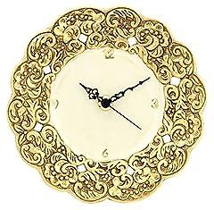 Idea Regalo - CERAMICHE D'ARTE F.L. ORGIA Orologio Oro Orologio da Parete Muro Ceramica Artistica Stile Barocco Foglia Oro 24k Made Italy