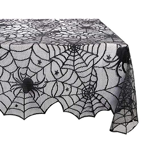 Lewondr Multifunctional Tablecloth, Square Lace Spider Web Pattern Table Cover, Flexible Polyester Tabletop Fireplace Window Decor for Halloween Party Kitchen Room Restaurant - ()