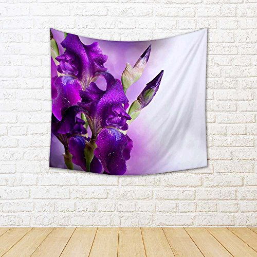 ArtzFolio Beautiful Violet Flower Satin Tapestry Wall Hanging 38.5 x 36inch
