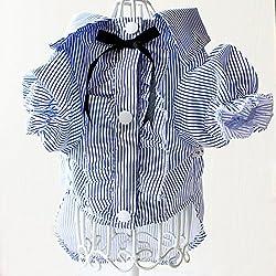 Trifycore Ropa para Mascotas, Estilo de la Moda de la Camisa del Perro Damas/Gentleman Felpa, Chihuahua, Ropa del Perrito (Azul, XL)