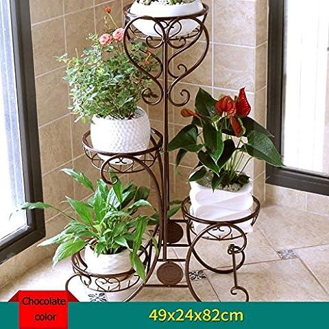 QFF Flower Stand Balkon Wohnzimmer Iron Multilayer Ground Potted Racks Indoor Plant Regale Blumen Regal ( Farbe : Schokoladen-Farben )