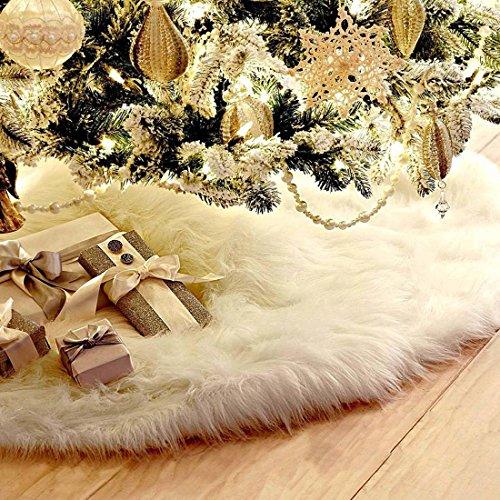 Jiyaru Decoraciones De Navidad Blanco Árbol De Navidad De La Falda Árbol De Navidad Decoración De Parte Inferior