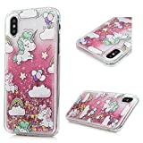 iPhone X Case, YOKIRIN Liquid 3D Glitter Quicksand Case [PC + TPU] Floating Moving Bling Fantasy Stars Hearts Sparkle Clear Shockproof Cover Case for iPhone X, Unicorn