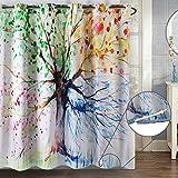 Hookless Duschvorhang 180x180 cm ZSZT Einzigartige Duschvorhangringe mit Ösen, 3D-Druck Water-Tinte Bunten Baum, Geschenk Duschhaube