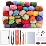 BASEIN Filzwolle Märchenwolle, 36 Nadelfilz Starter Kit Set Farben Wolle Roving Filzen Basic Kit für Hand Spinnen DIY Craft Projekte (2018 Verbesserte Version)
