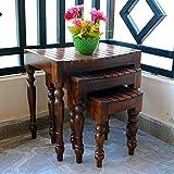 #7: Driftingwood Nesting Tables Sheesham Wood Set of 3 Walnut Brown Stools