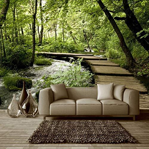 Pbldb 3D Vliestapete Klassische Wald Holzbrücke Stream Natur Wandbild Wohnzimmer Räumliche Expansion Green Eye Decor Tapete-120X100Cm