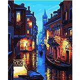 KAYI Pittura a olio di notte di Venezia con il kit di numeri - Kit di pittura ad olio di fai da te per adulti, Junior, Bambini - Pittura a mano artigianale