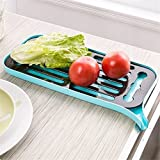 Smartcraft Multi Purpose Draining Tray -Blue , Plastic Dish Drainer Rack and Drain Board with Spout,Small Dish Drying Rack and Drainboard Set for Kitchen Countertop/Sink Draining