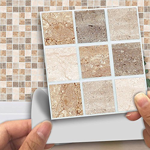 "APSOONSELL Pack of 18 pcs Mosaic Tile Transfers for Bathroom Kitchen Stick on Wall Tile Stickers, Peel and Stick Self-Adhesive Wall Tiles - 4"" x 4"" (10cm x10cm),Colorful Marble"